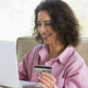 Shopping season has begun, this woman is shopping online at home